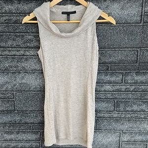 WHBM gray ribbed cowl neck tunic size small